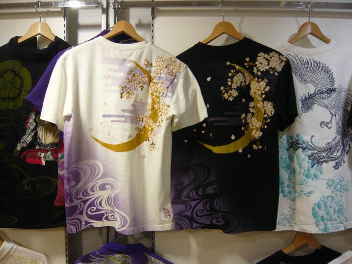 絡繰魂 三日月刺繍和柄Tシャツ