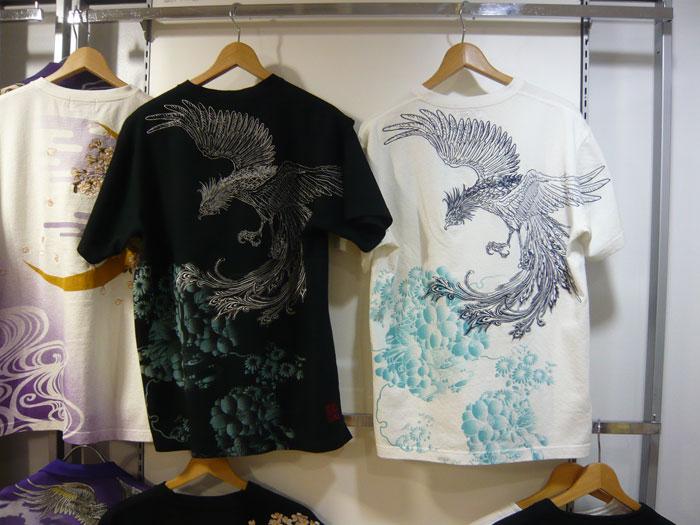 絡繰魂 鳳凰刺繍和柄Tシャツ