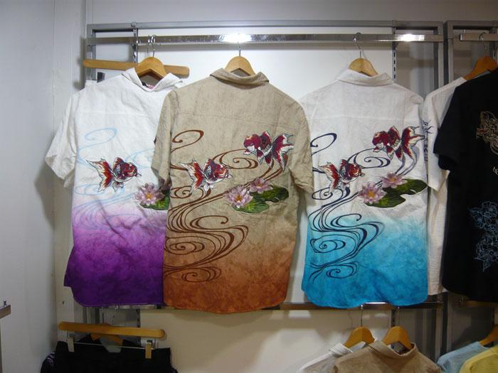 絡繰魂 金魚刺繍 和柄半袖シャツ