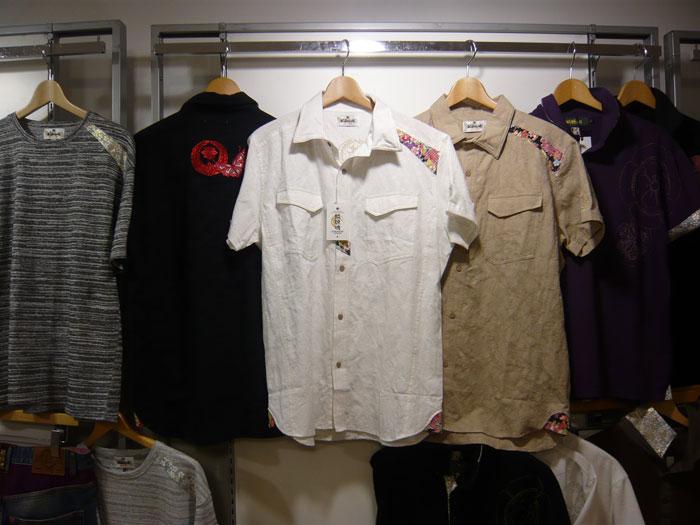 絡繰魂 家紋刺繍和柄半袖シャツ