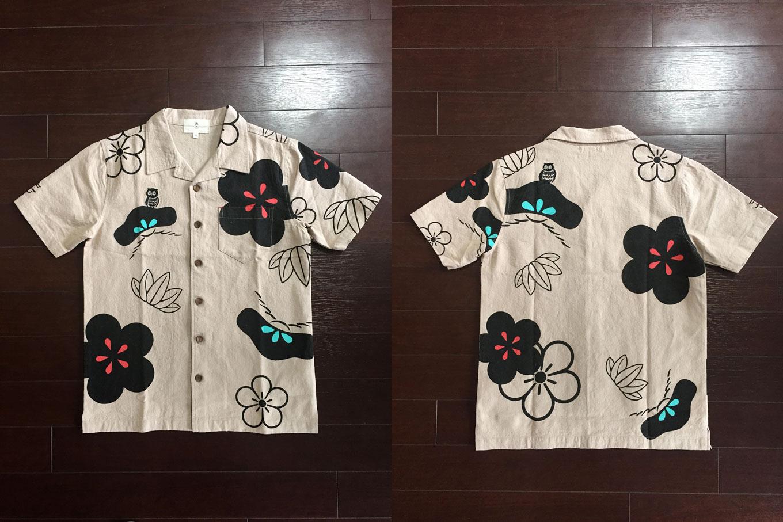 松竹梅和柄半袖シャツ