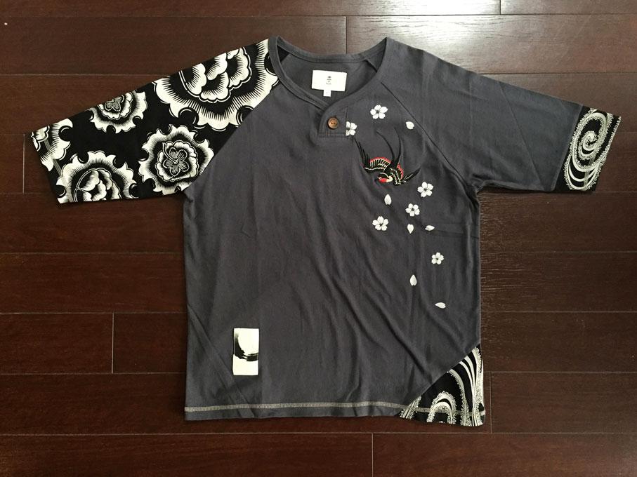 ツバメ5分袖和柄Tシャツ