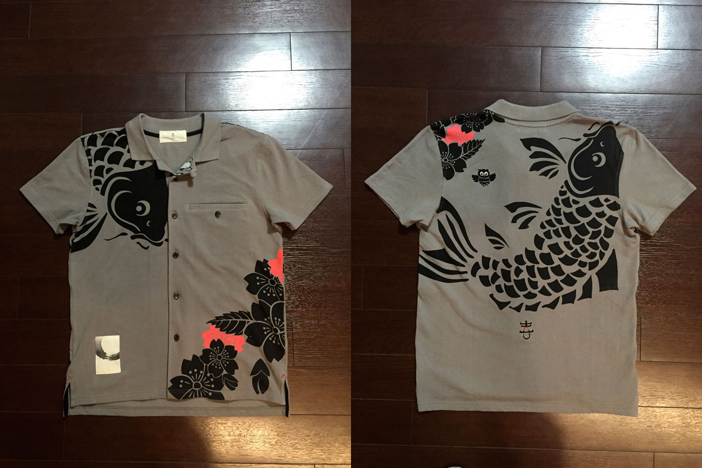 鯉桜 鹿の子和柄半袖シャツ