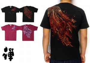 禅 火鳥和柄Tシャツ