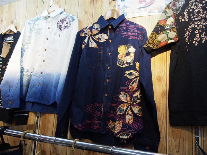 桜和柄長袖シャツ