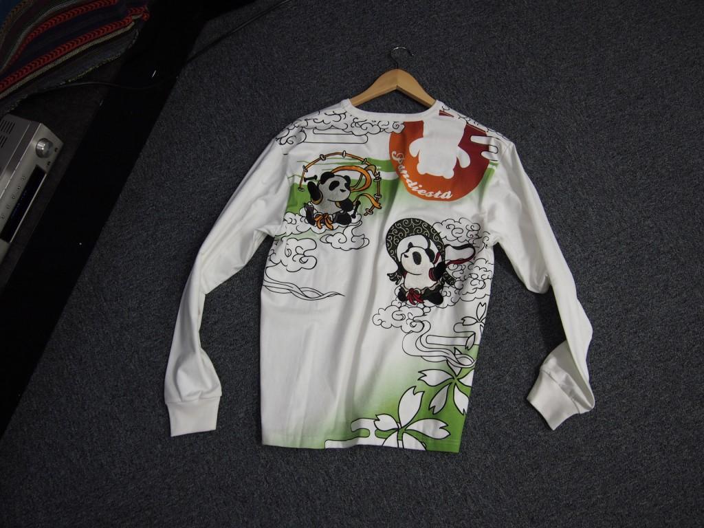 錦パンダ風雷神和柄ロングTシャツ