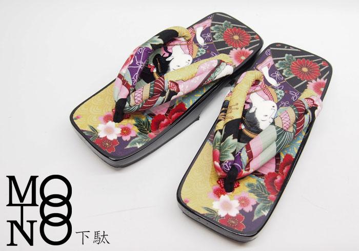 MOTONO 布あそび芸者柄 下駄/和柄/日本製