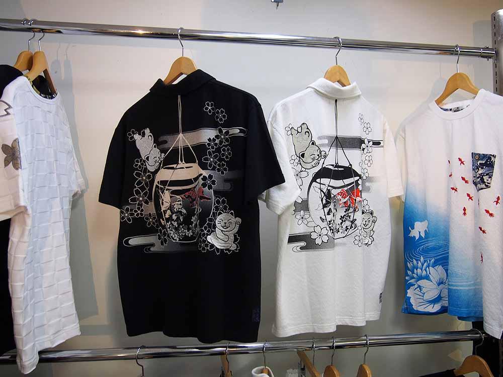 金魚鉢に戯れる金魚刺繍 和柄ポロシャツ
