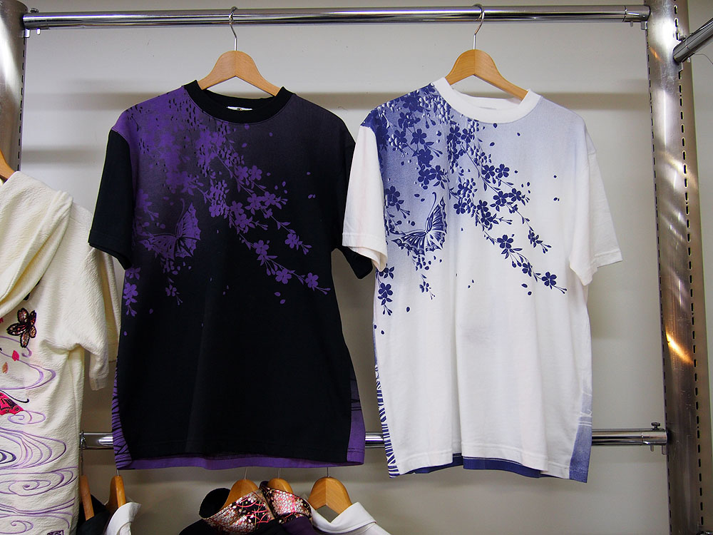 夜紫蝶刺繍 和柄ポロシャツ