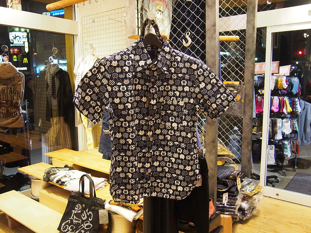 ねこ 和柄半袖シャツ