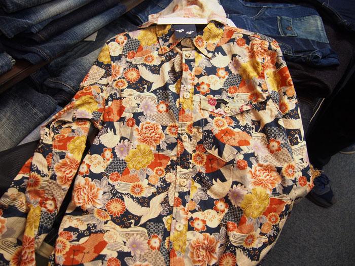 総柄和柄長袖シャツ