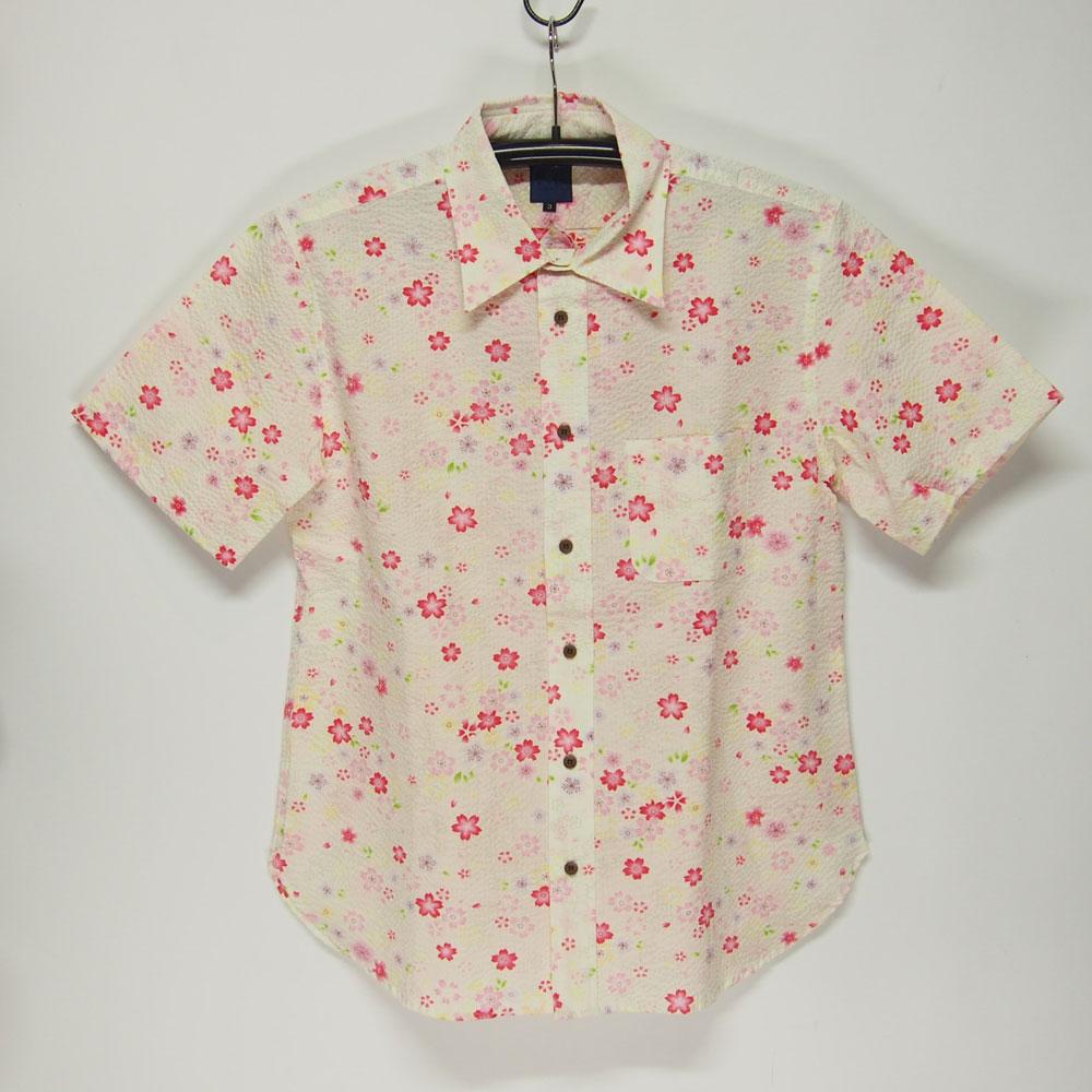 衣櫻 SA-1132 カスレ桜 和柄半袖シャツ