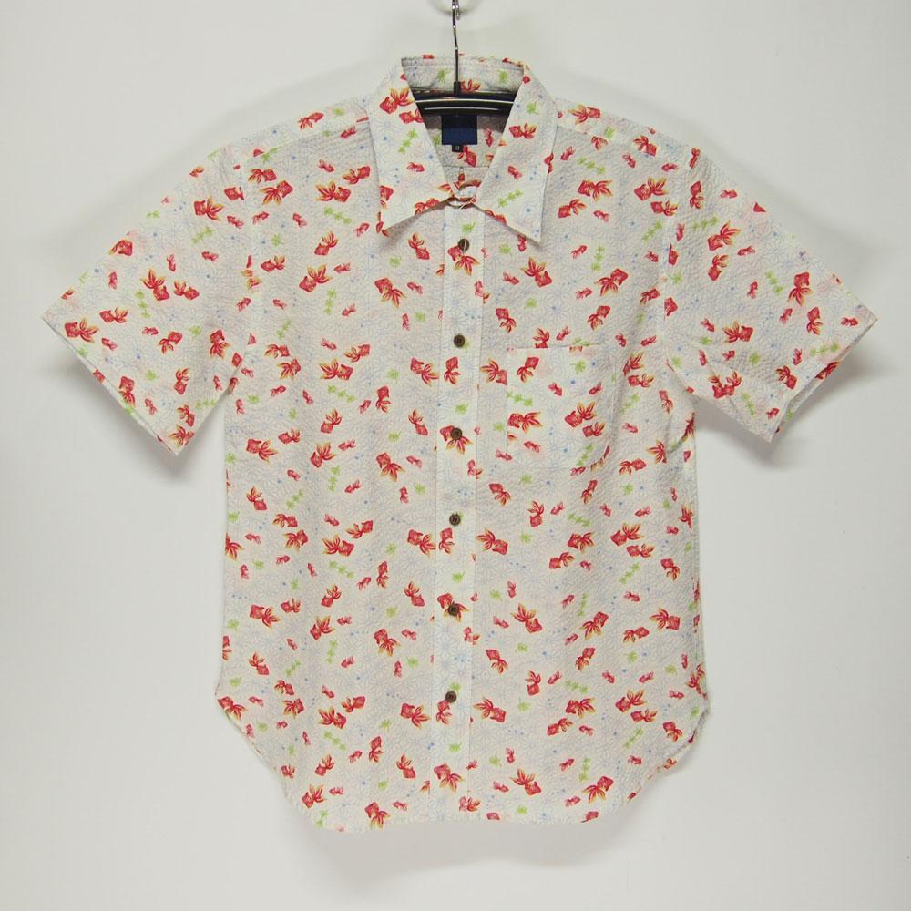 衣櫻 SA-1133 カスレ金魚 和柄半袖シャツ