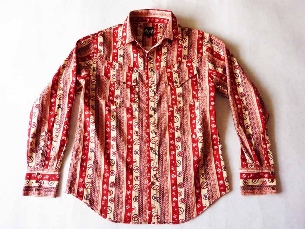 衣櫻 SA-1150 変わり縞ムラ糸和柄長袖シャツ/12800円/納期8月下旬