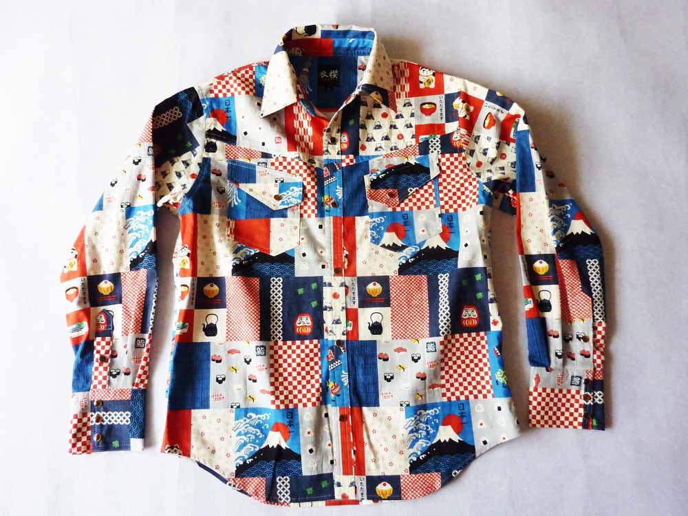 衣櫻 SA-1153 JAPANパッチワーク調プリント和柄長袖シャツ/12800円/納期8月下旬