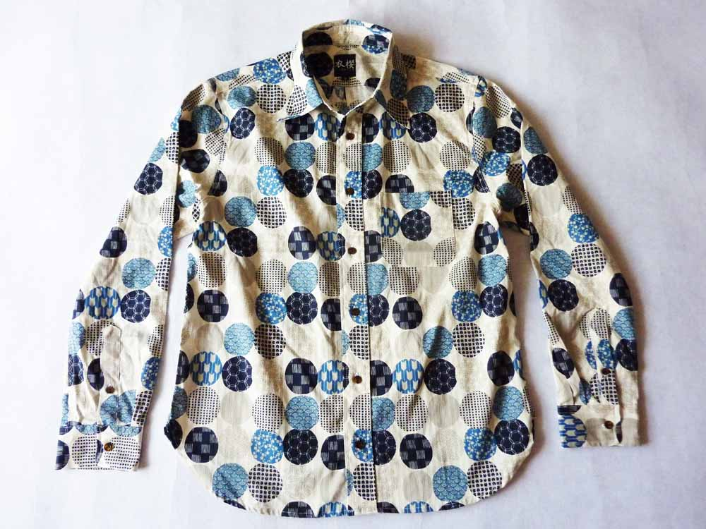 衣櫻 SA-1163 家紋ドビークロス和柄長袖シャツ/11800円/納期8月下旬
