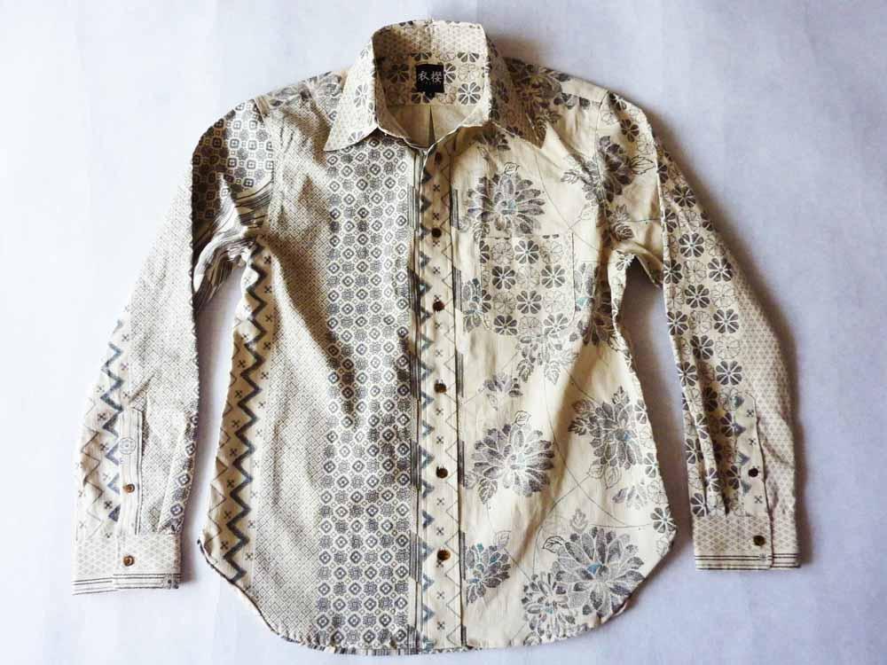 衣櫻 SA-1165 大島紬調クレイジーパターン和柄長袖シャツ/11800円/納期8月下旬
